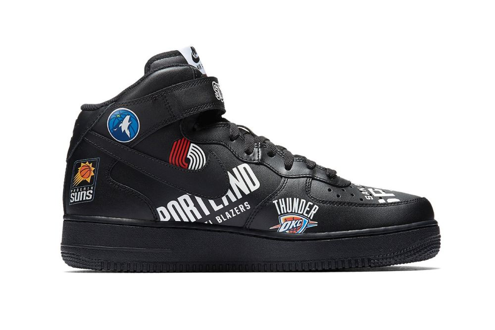 detailed look d806d ed298 Air Force 1 Mid Supreme NBA - Black - Size 12 — FOWSHO