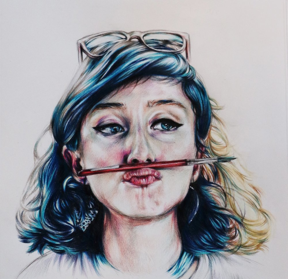 A quick, experimental play with colored pencils
