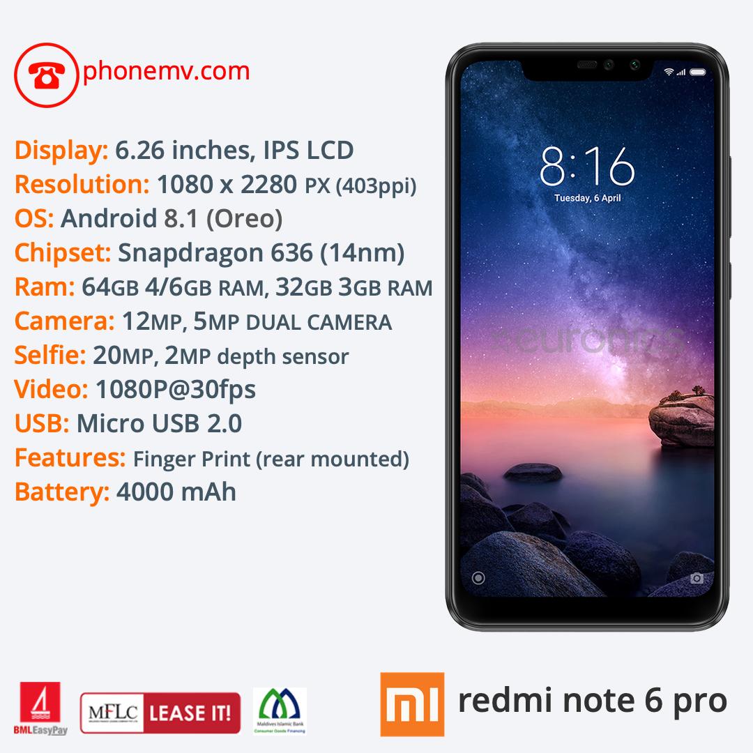Xiaomi Redmi Note 6 Pro — Phone MV: Male' Maldives best phone seller, shop,  online