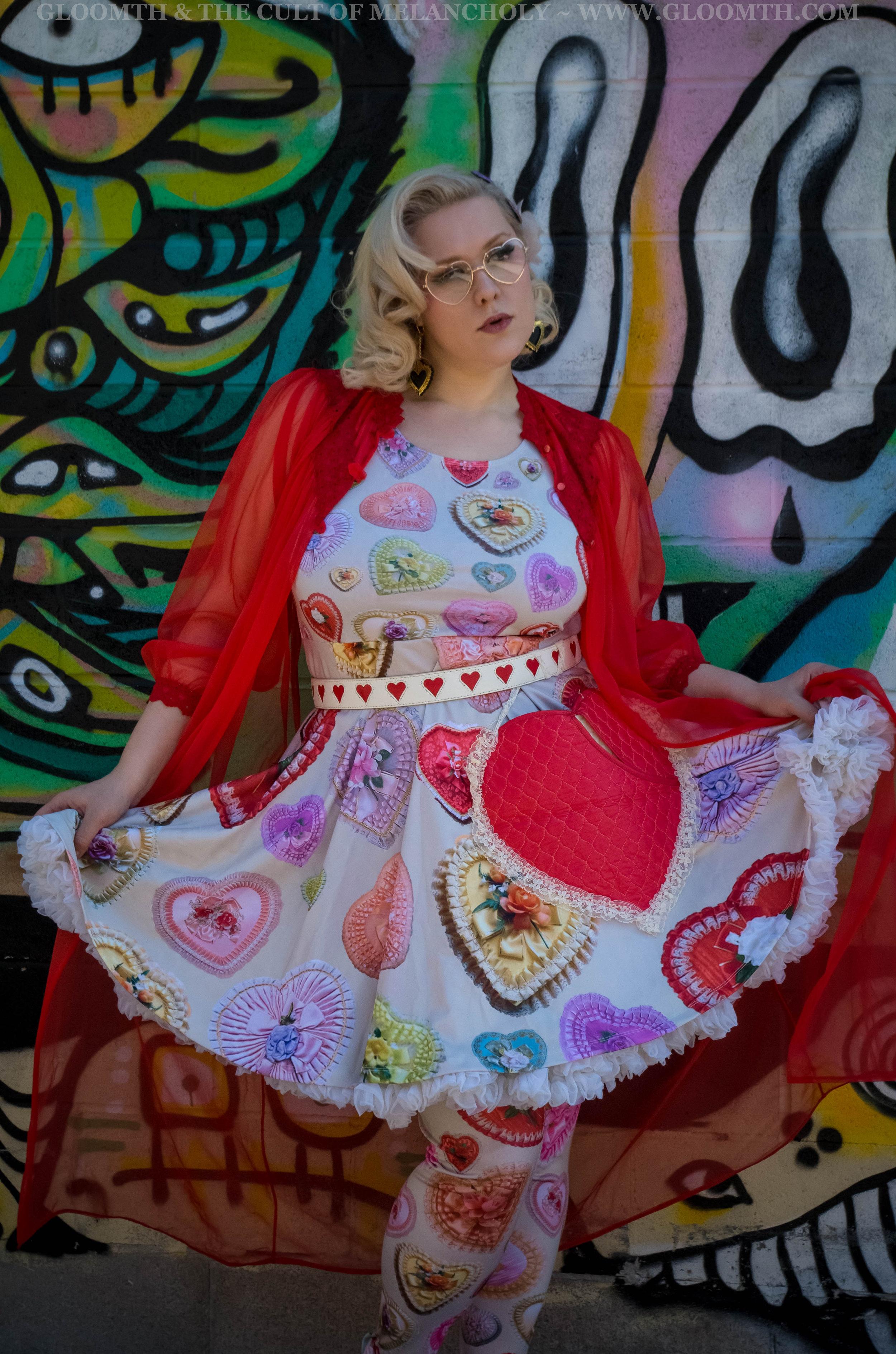 Vintage Valentine Print Fit and Flare Dress — Gloomth