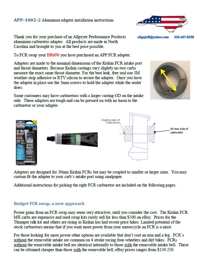 Keihin FCR Carburetor Retrofit Adapter for DRZ 650 (APP-1002-2) — Allgeyer  Performance Products