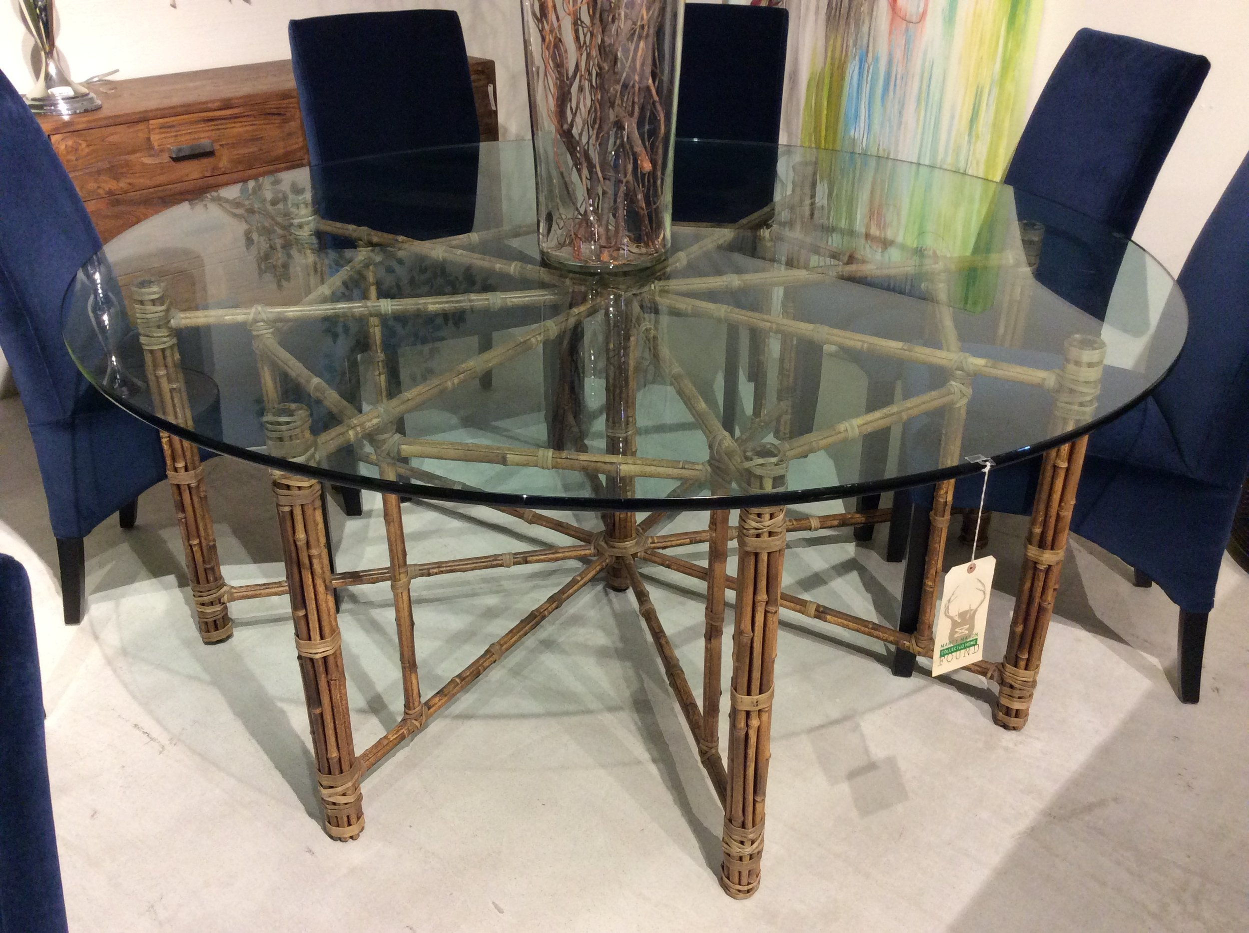 74 Round Mcguire Glass Top Dining Table Savvy Snoot