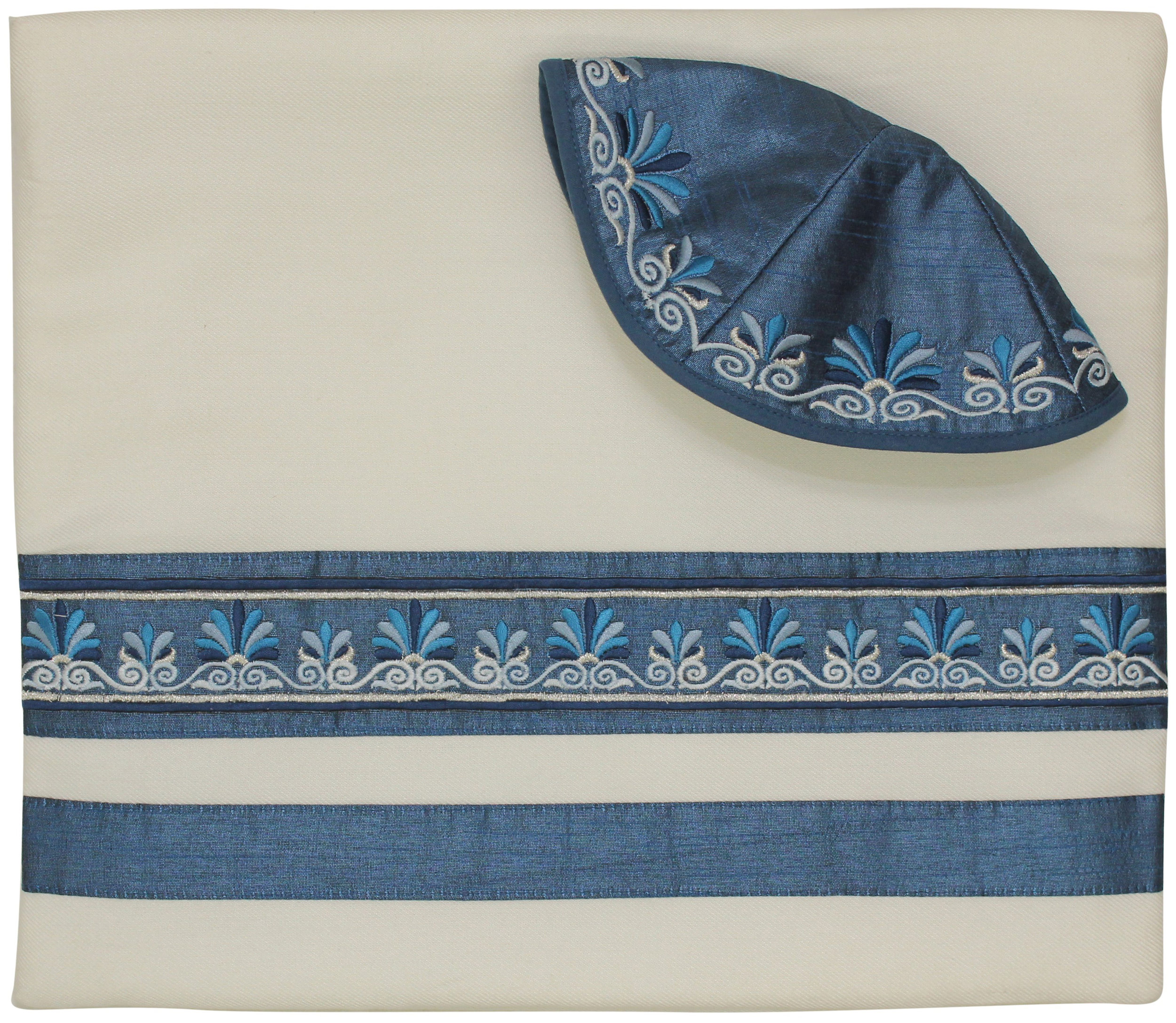 White / Blue Embroidered Stripes - Tallit Set — Afikomen Judaica