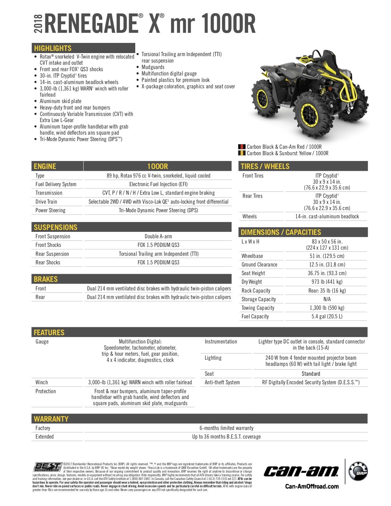 2018 Can-Am ATV Renegade X MR — Bancroft Sport & Marine
