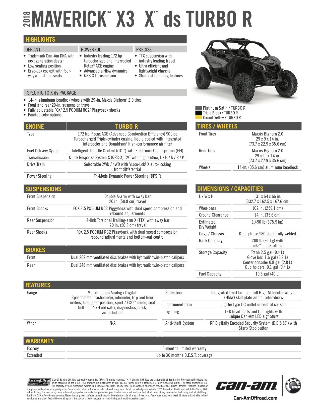 2018 Can-Am SSV Maverick X3 X DS Turbo R — Bancroft Sport & Marine