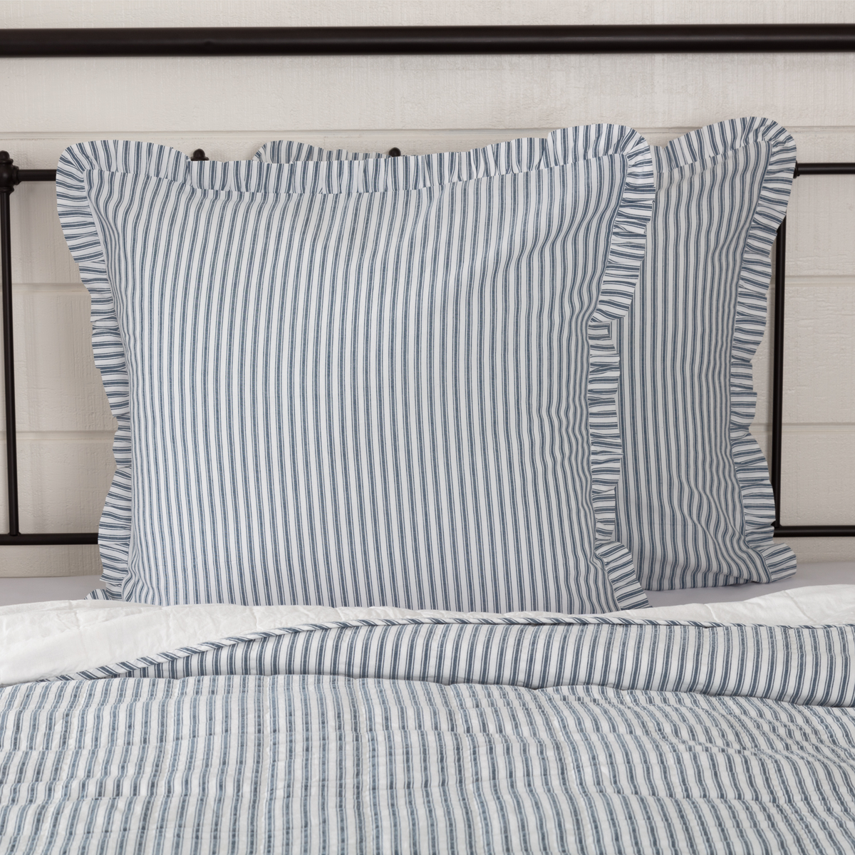 Sawyer Mill Charcoal Ticking Country Bedding Cotton Fabric Pillow Sham