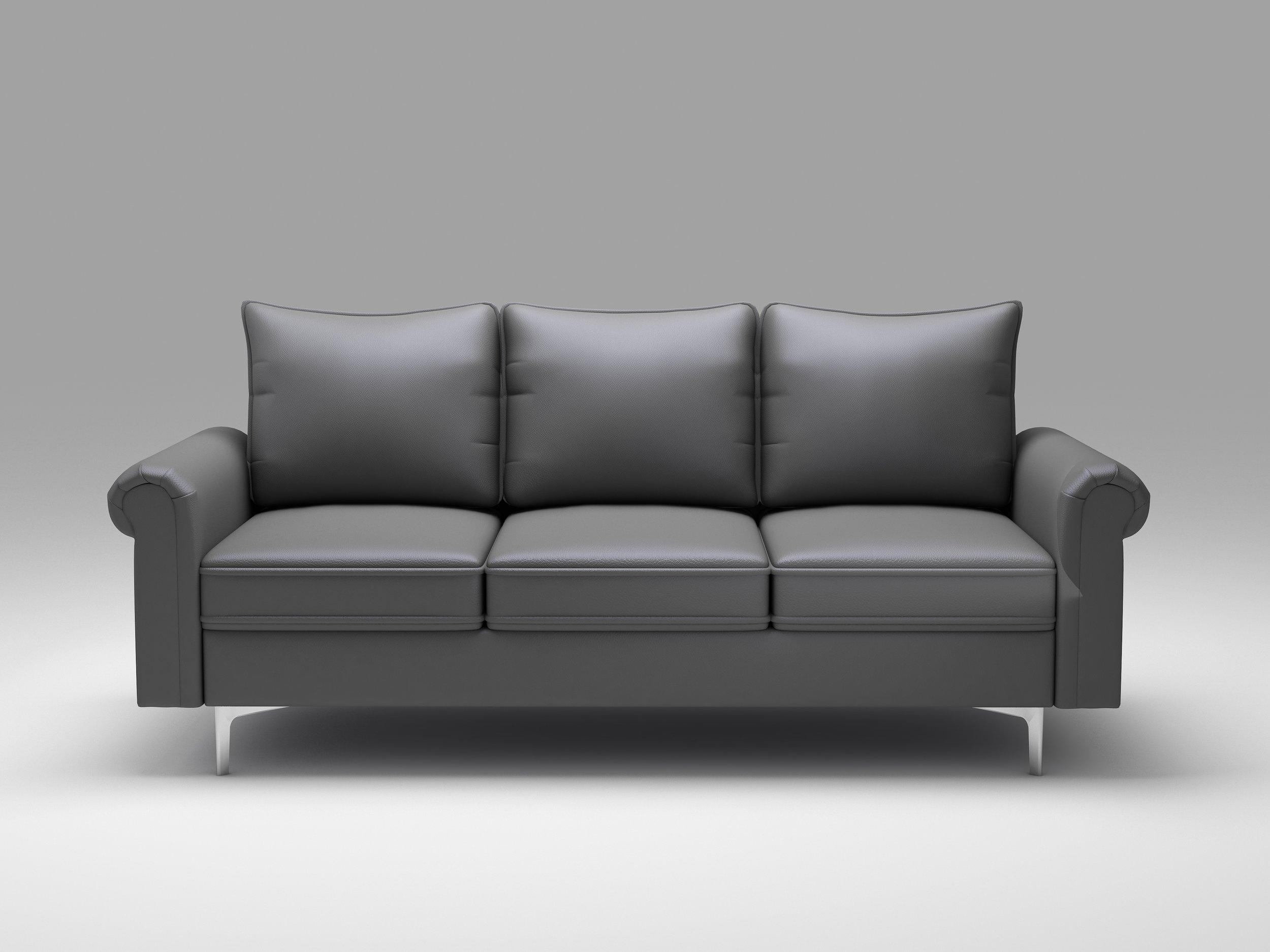 Queenshome Modern Beige Grey Leather