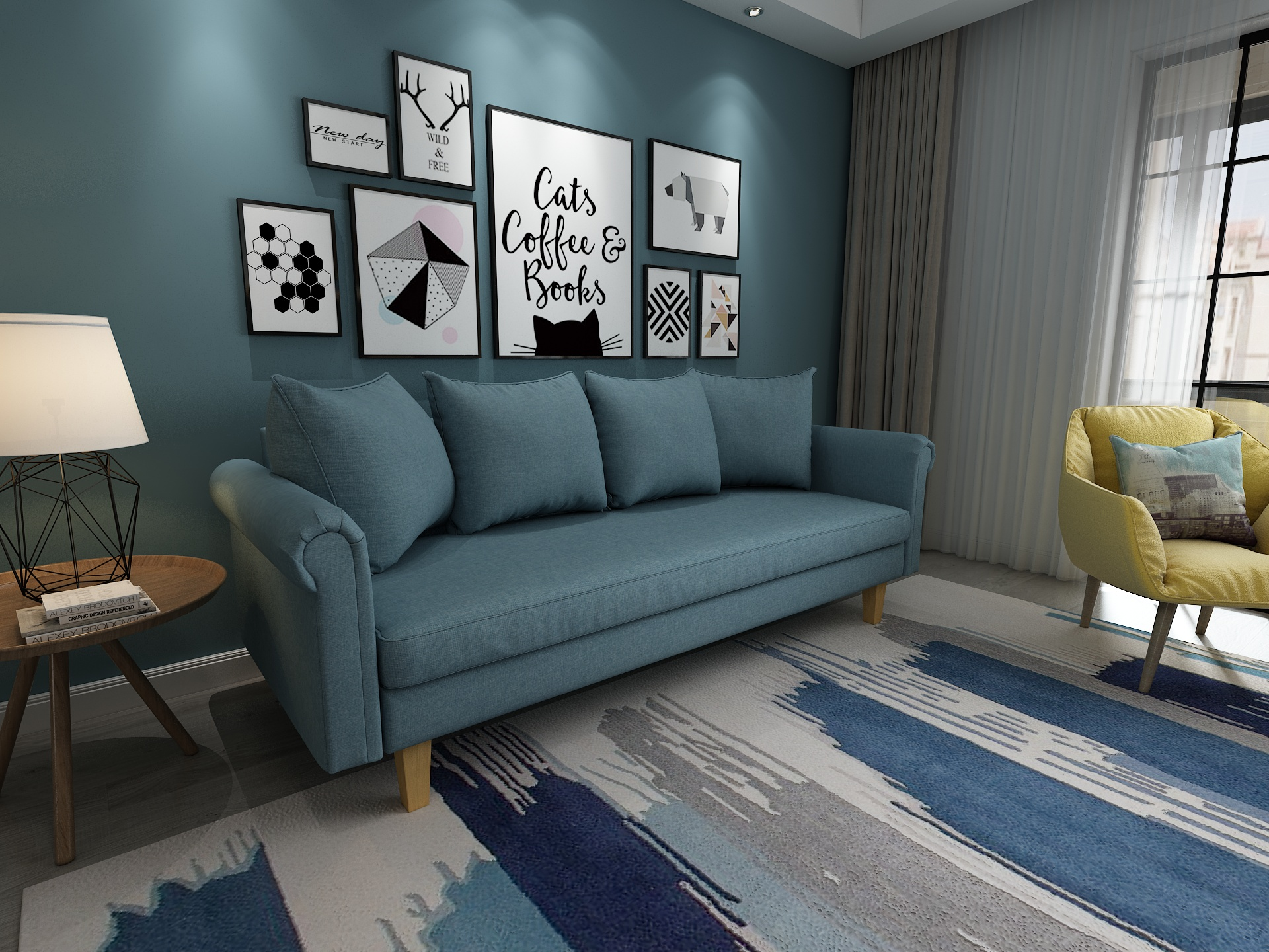 Queenshome Luxury modern wholesale cheap contemporary designer sofas Nordic  furniture fabric 3 seater blue living room sofa — QUEENS HOME
