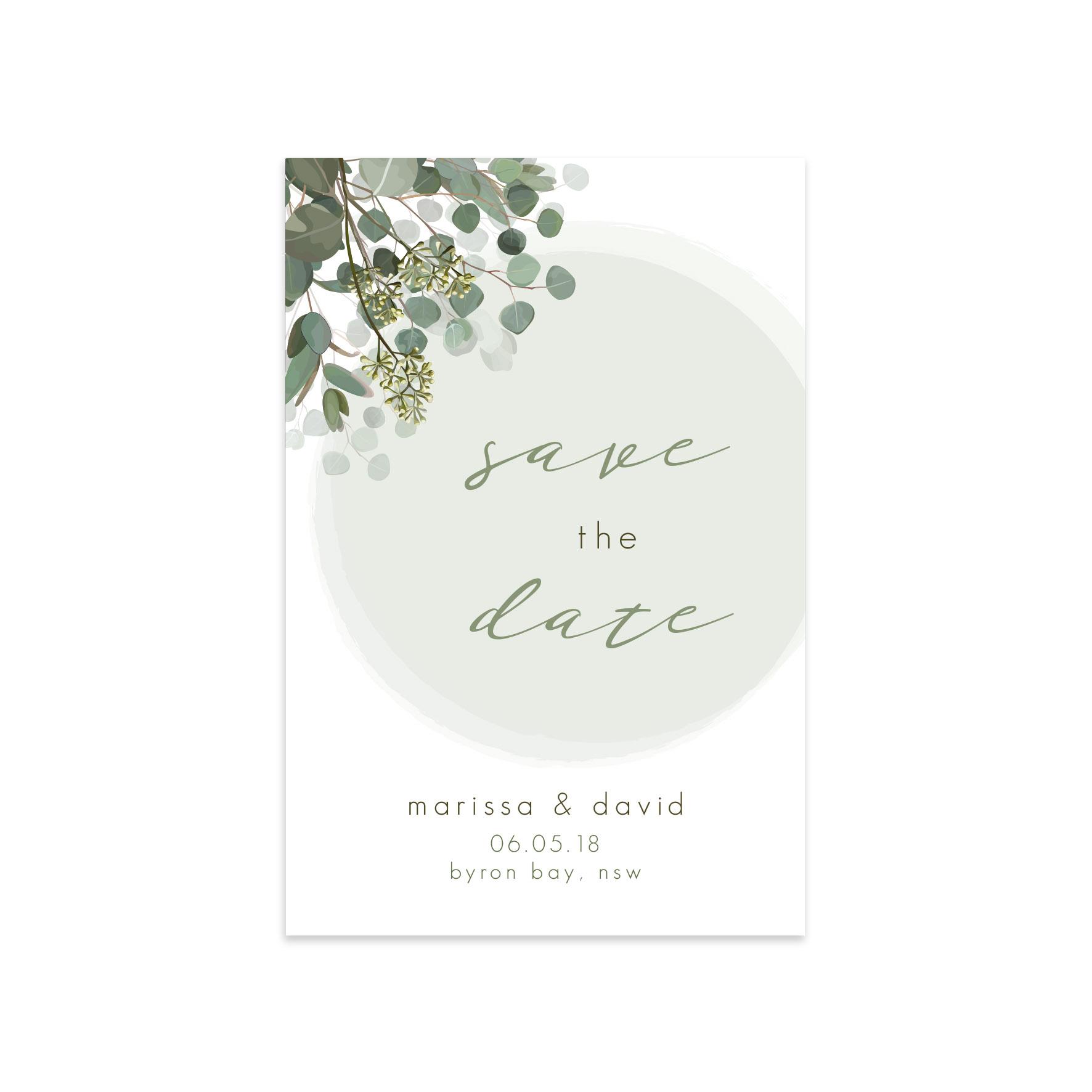 Wedding Save The Dates.Eucalyptus Save The Date Ficus And Fig Design Custom Wedding Invitations Australia