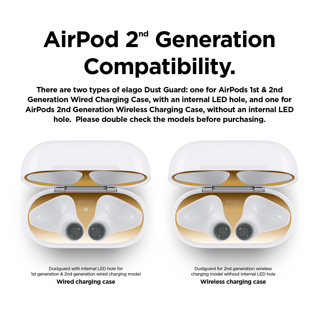 Airpods Dust Guard Gold Airpods 1 2 Wired Charging Case Elago