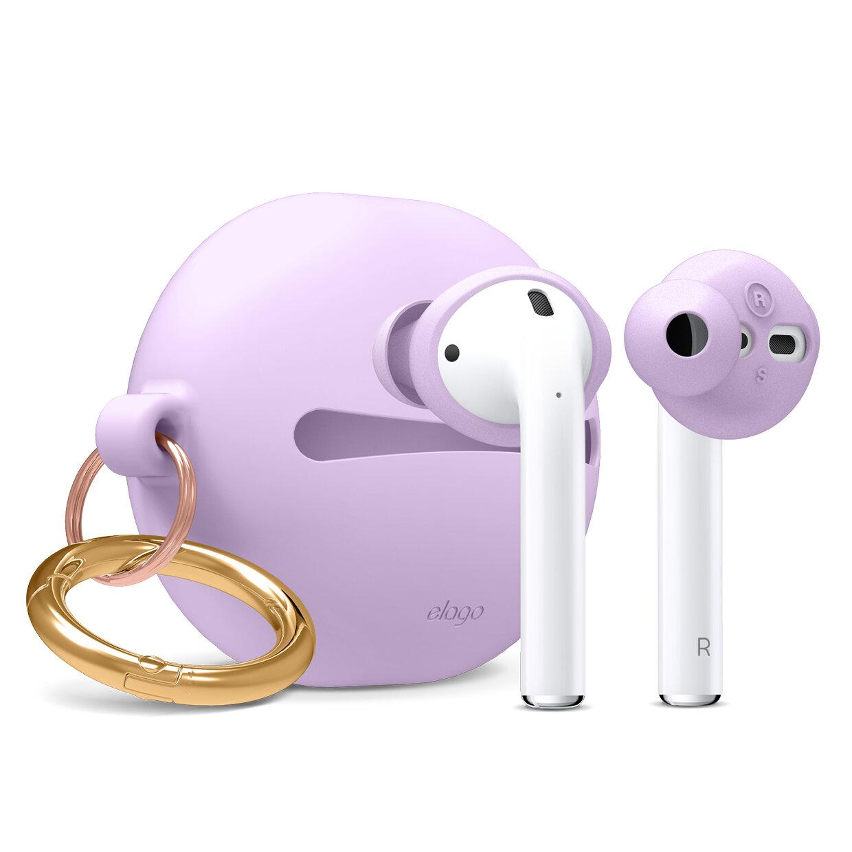 Peque/ño 2 Pares + Grande 2 Pares Lavanda Compatible con Apple AirPods 2 /& 1 elago Earbuds Basic Cover Gancho de Oreja con Bolsa para Llevar Incluido 4 Pares