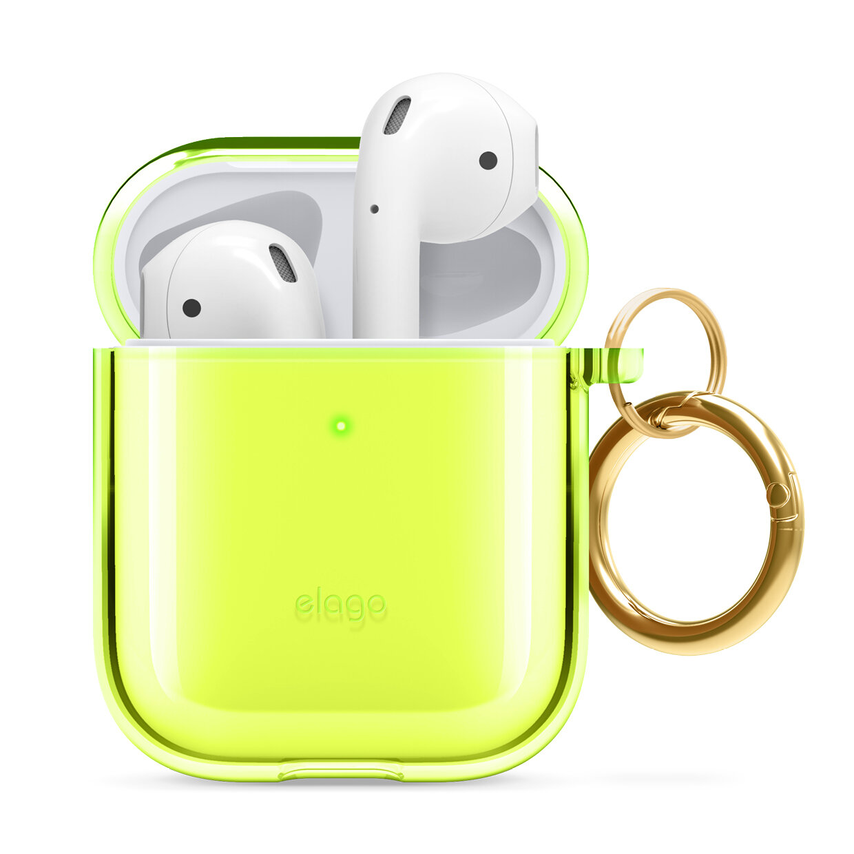 elago Clear Airpods Case with Keychain Designed for Apple Airpods 1 /& 2 Neon Yellow