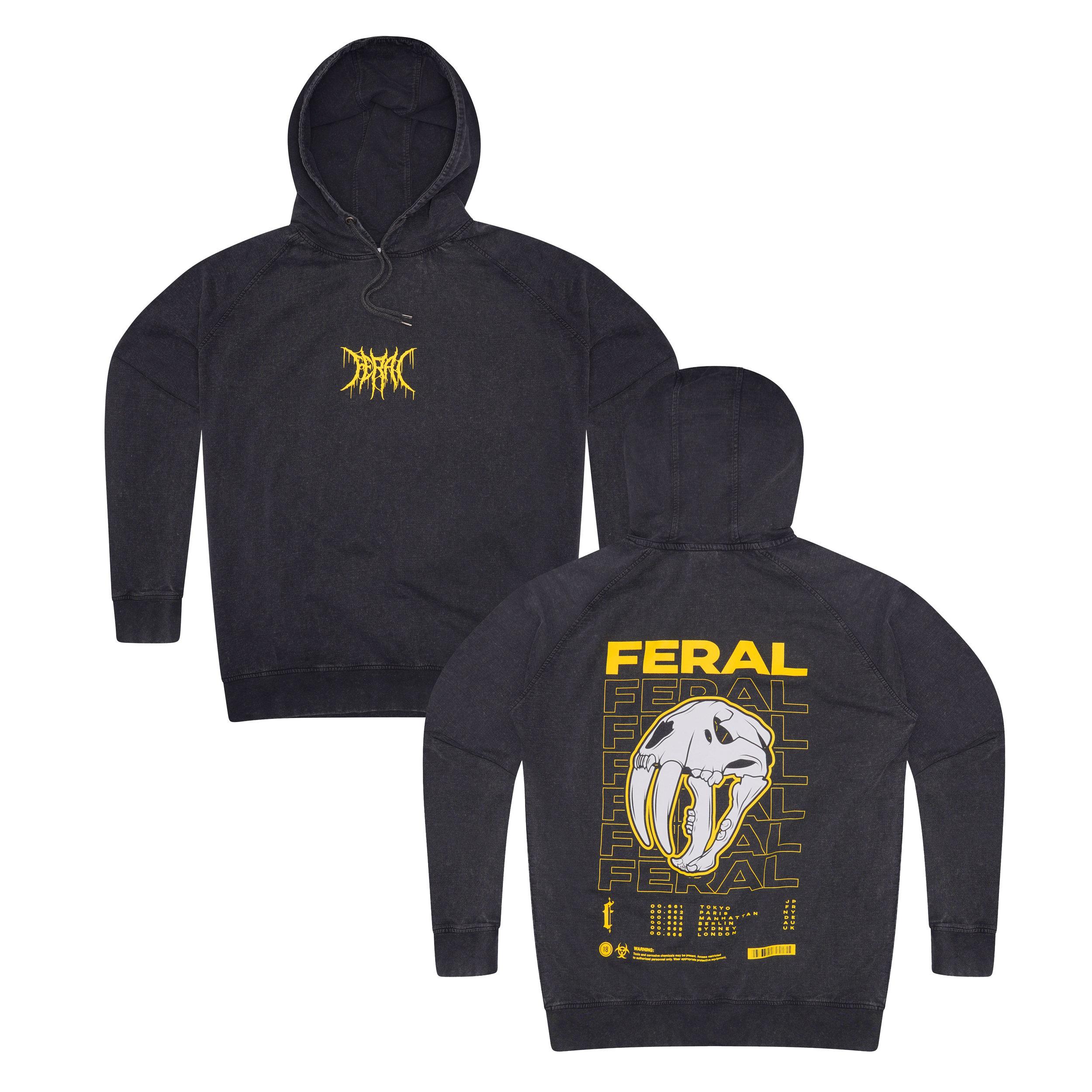 Feral 'Final Tour' Oversized Hoodie - Acid Wash Black — UN:IK Clothing
