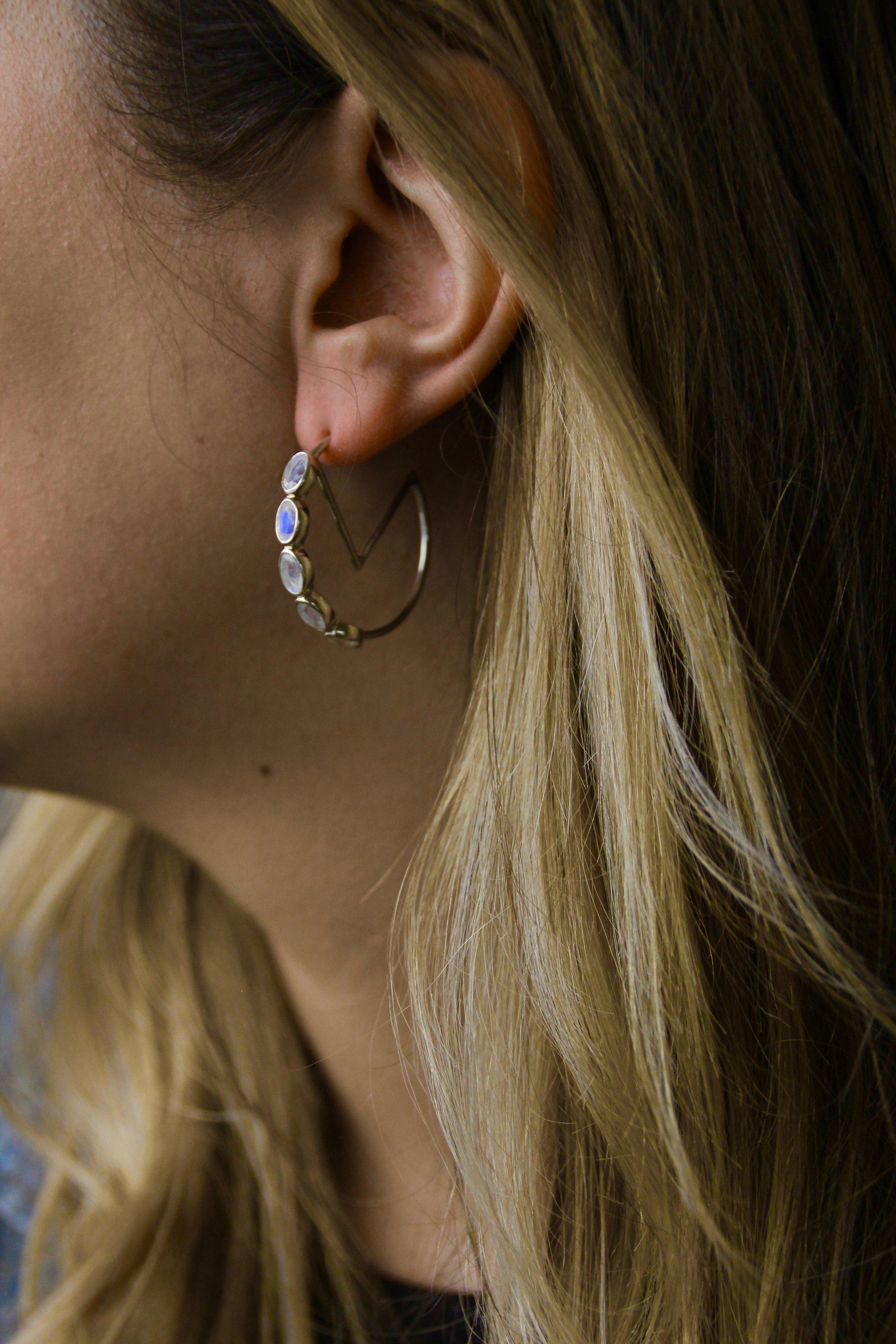 The Moonstone Monarch Hoops Sterling Silver Zaleska Jewelry