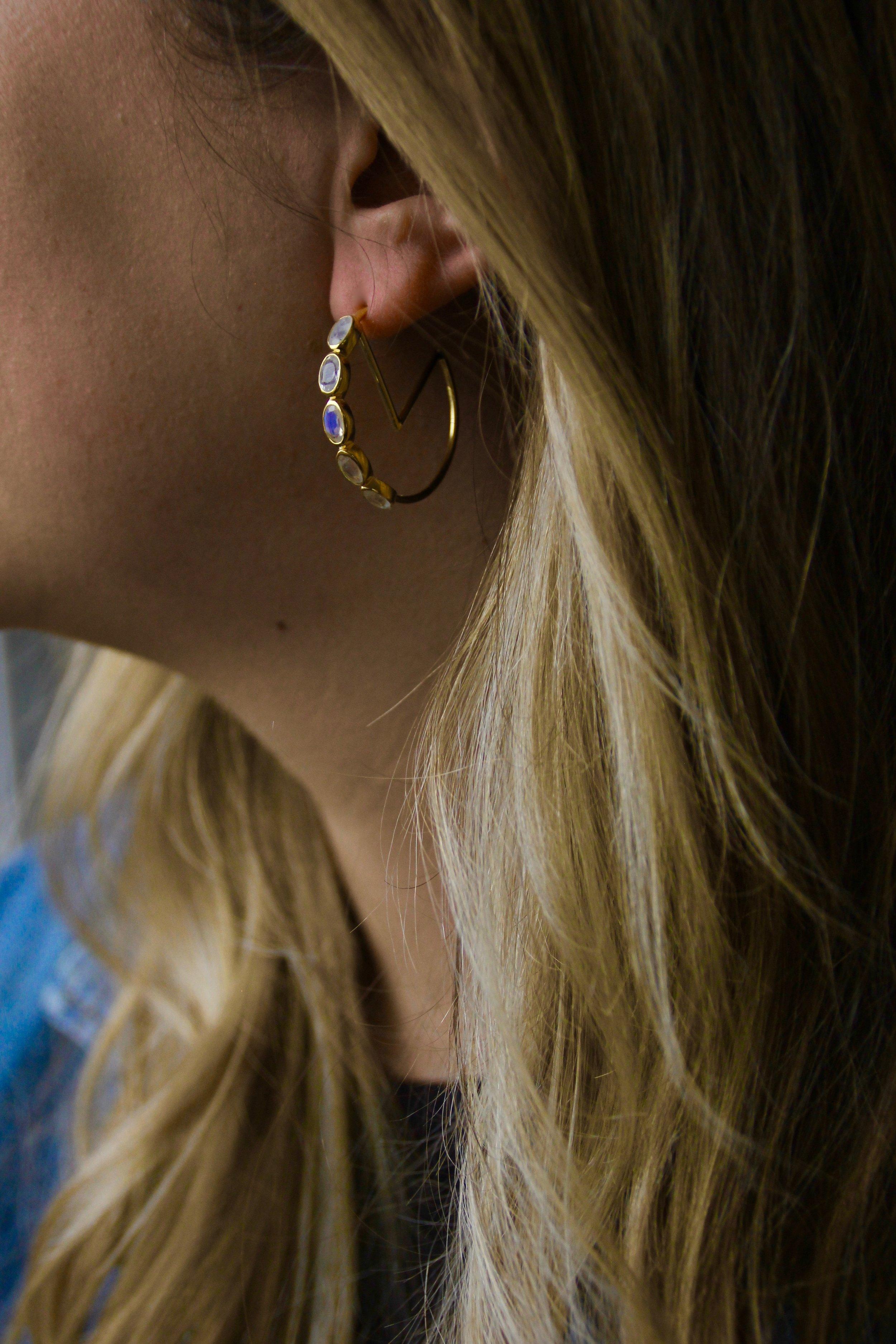 The Moonstone Monarch Hoops Gold Vermeil Zaleska Jewelry