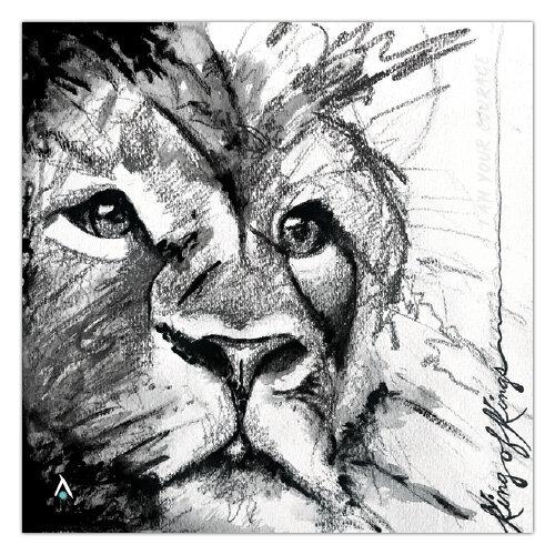 Original Ink Drawing Print Lion Pride Note Card