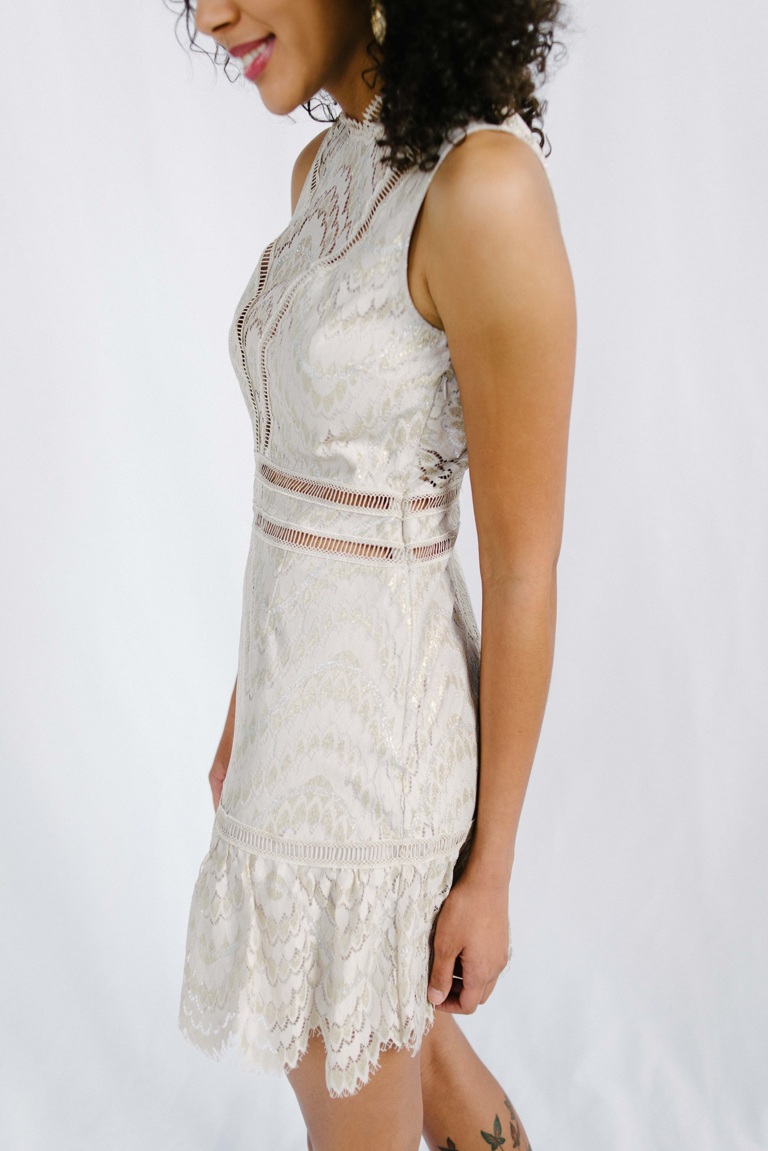 Saylor Rosemary Champagne Dress Eden Boutique