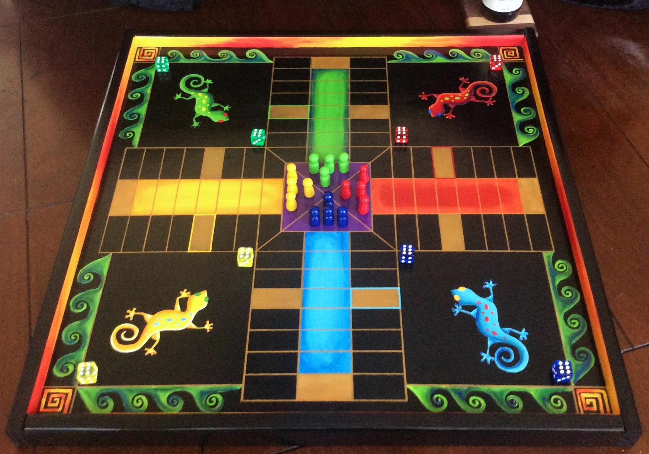 Parcheesi Hand Painted Lizard Parcheesi Wooden Parcheesi Gameboards Deluxe Hand Painted Heirloom Quality Parcheesi Gameboard Chris N Carries Wahoo Games And Signs