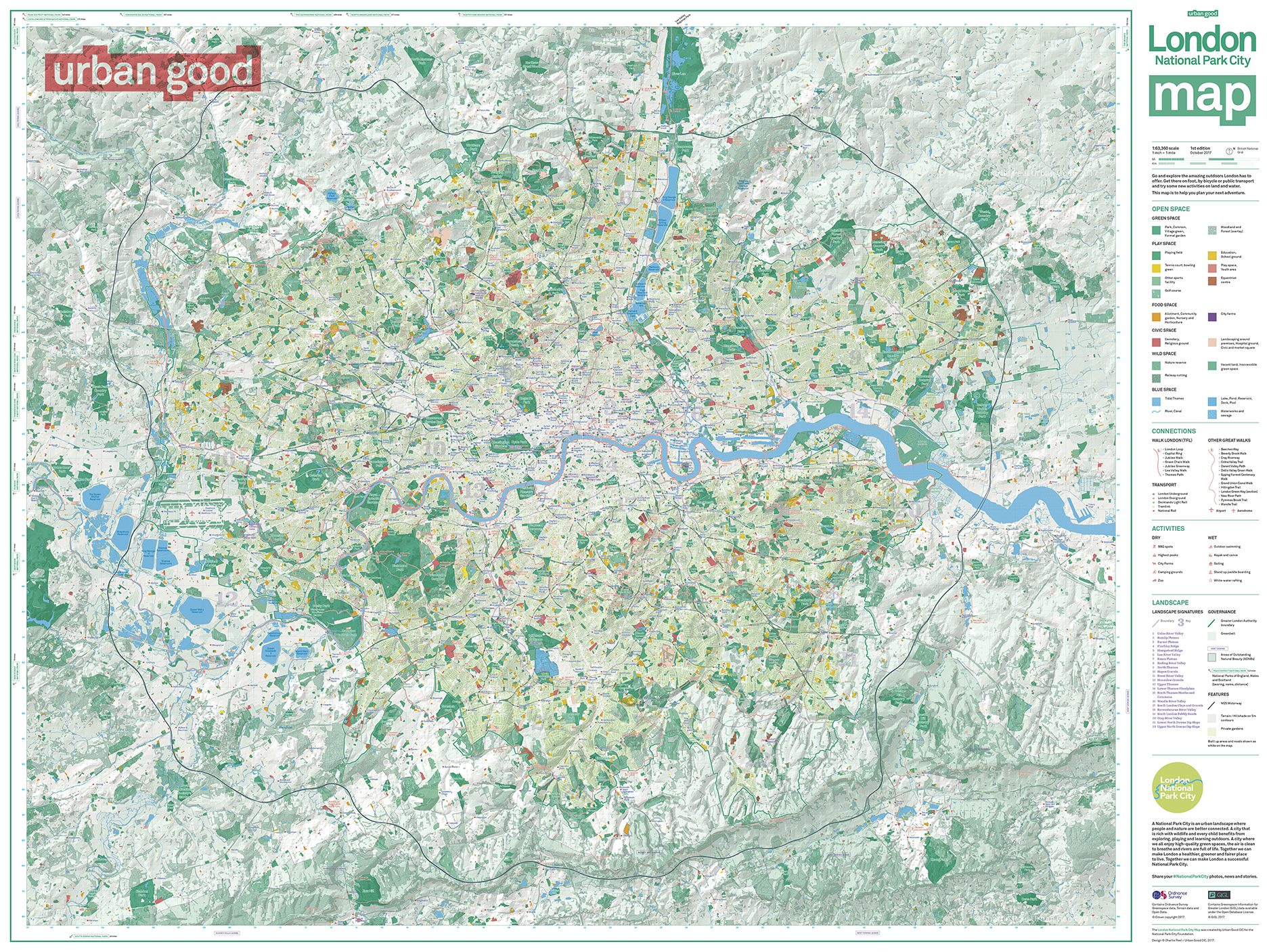 Map F London.London National Park City Map Folded Urban Good