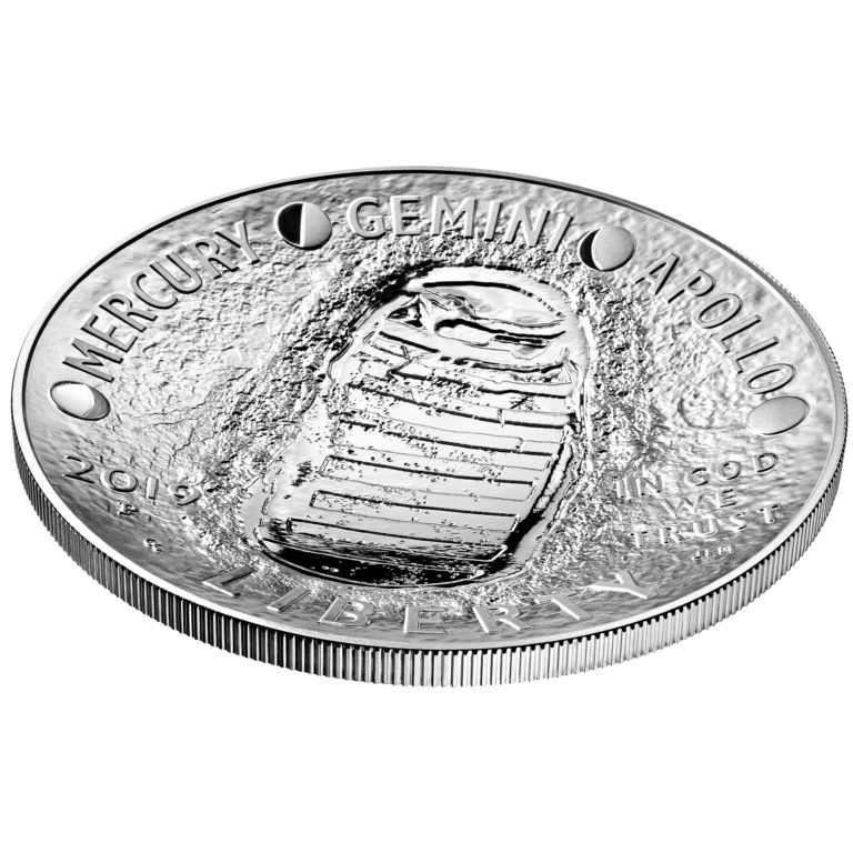 2019 P Apollo 11 50th Anniversary Curved Commemorative Proof 5oz Silver Dollar Mint Packaged