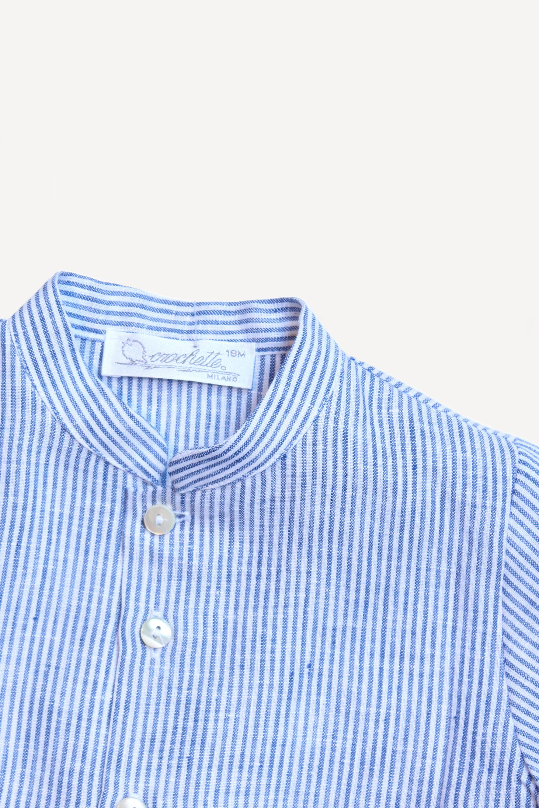 best service 7c5a9 581e7 Camicia bambino lino a righe blu — Crochette