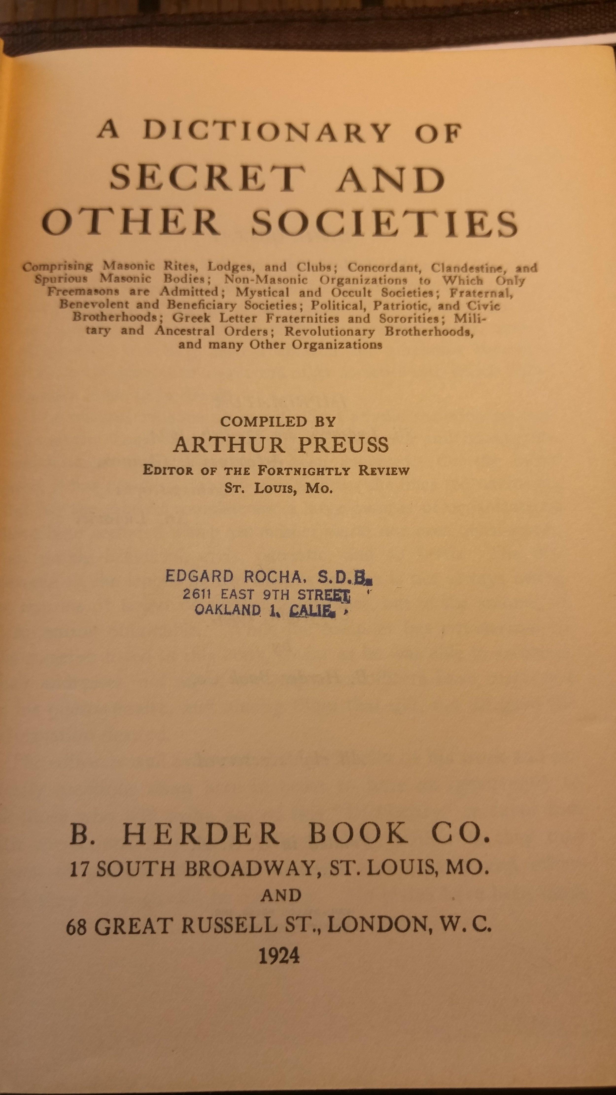 Sobrino Rare Books — A Dictionary of Secret and Other Societies - Arthur  Preuss - 1924