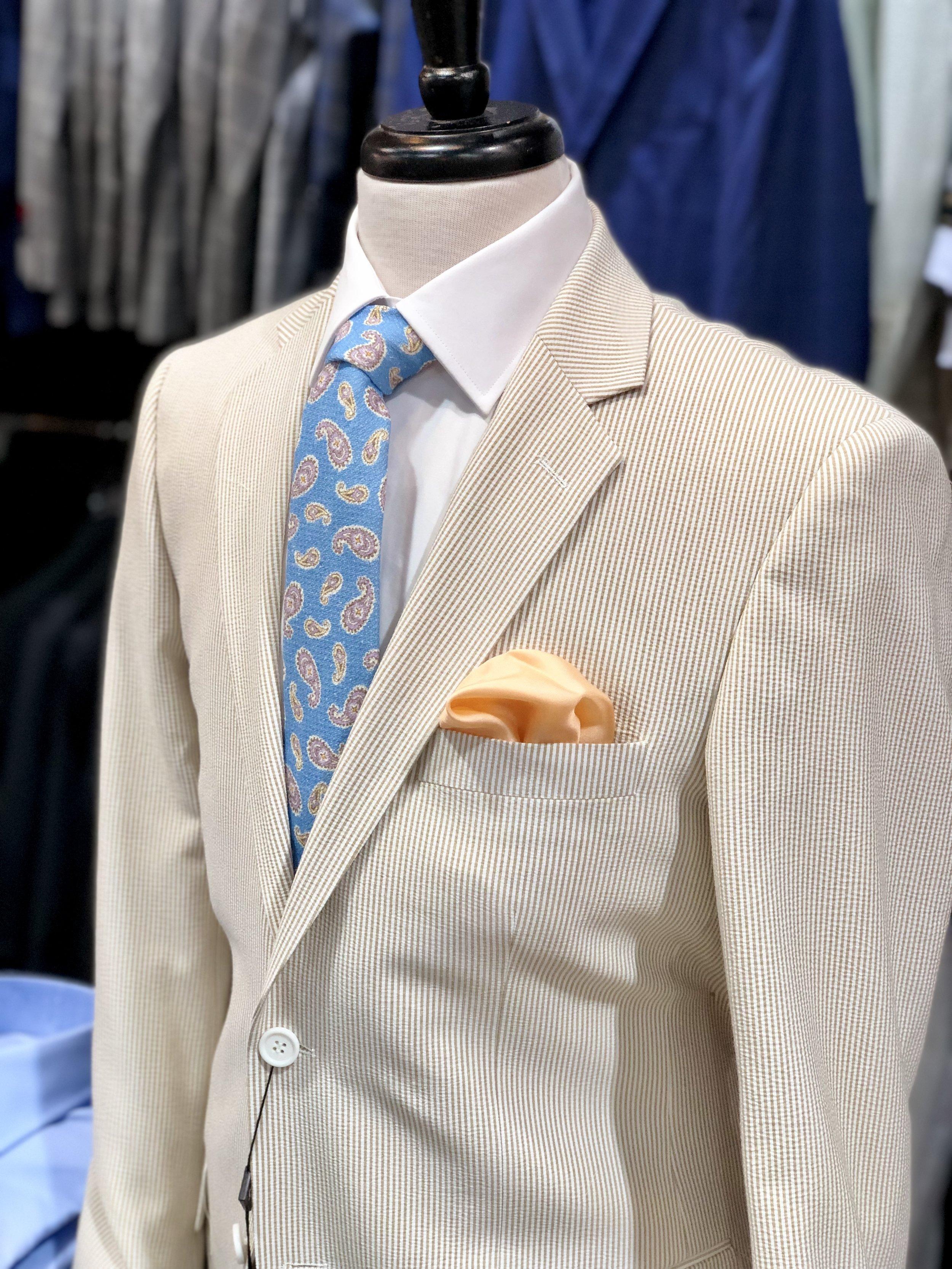 Joseph S Clothier Brown Seersucker Suit