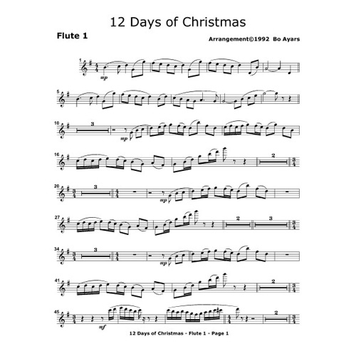 12 Days Of Christmas Sheet Music.The 12 Days Of Christmas Ax2 Ayars Times Two Music