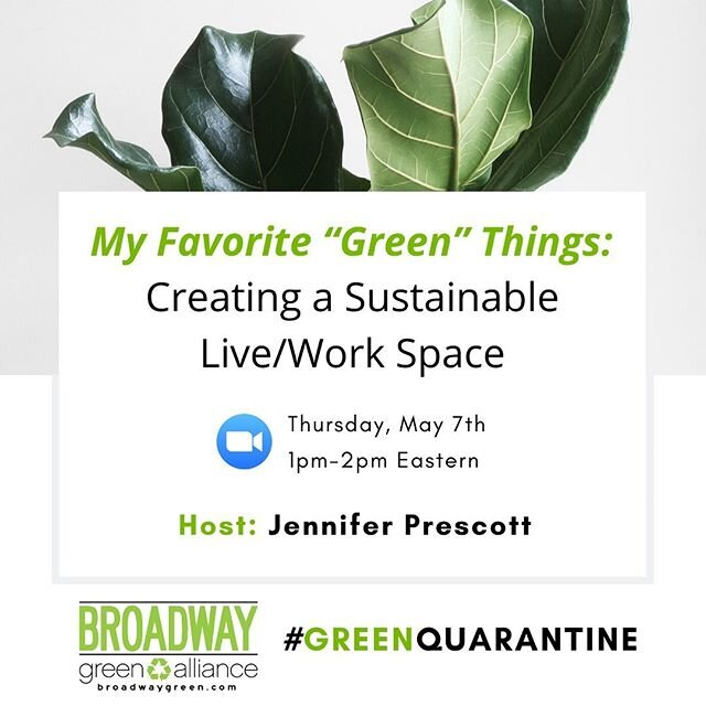 In the arts, our living and work spaces often blend together.  Whether that space is a dressing room, work station, studio, pit, shop, or - in light of the pandemic shutdowns - our homes, these spaces offer an opportunity for personal green choices. Join the BGA and @jgjjennygreenjeans this Thursday at 1PM ET as Jennifer combines her experience as a performer and sustainability marketplace expert to discuss best practices for creating a greener living and working space.🌿 Registration link in bio!#BroadwayGreen #GreenQuarantine #sustainability #GreenHome #GreenLife #NonToxicLiving #ConsciousConsumerism #zerowaste