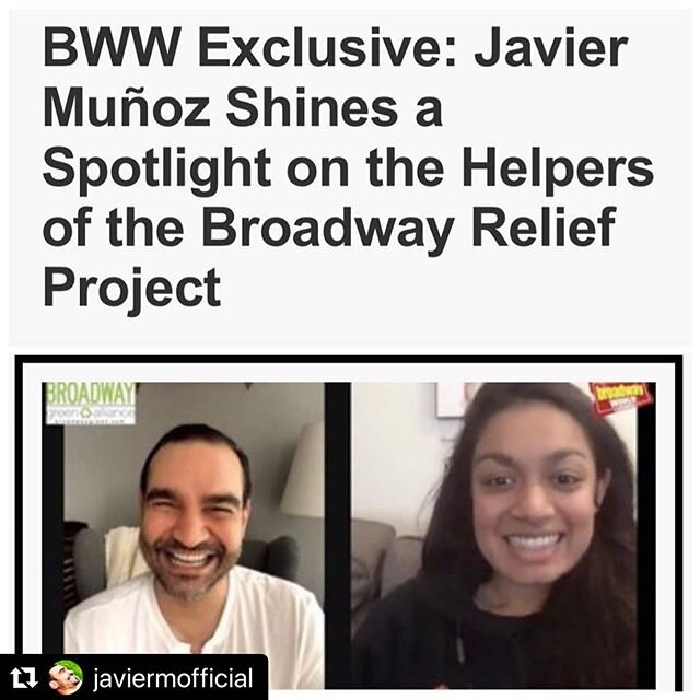 #BroadwayHelpers: Joya Ahmad, @medsupplydrivenyc - The first interview highlighting the wonderful people behind the Broadway Relief Project is live on @officialbroadwayworld! See below for interview details ⬇️.#Repost @javiermofficial with @make_repost・・・This series is about the hundreds of people who make The #broadwayreliefproject happen every single day. This is NOT an ask for donations. This is purely about the folks who help us provide PPEs to our frontline healthcare workers. Our hope is that this series brings you comfort & inspiration ❤️LINK TO 10 MINUTE VIDEO IN BIOThank you @officialbroadwayworld @m_braves @jeffwhitingnyc @broadwaygreenalliance @openjarstudios and every single volunteer, supplier, coordinator, driver, and wardrobe artist who are the heart and engine of The Broadway Relief Project❤️