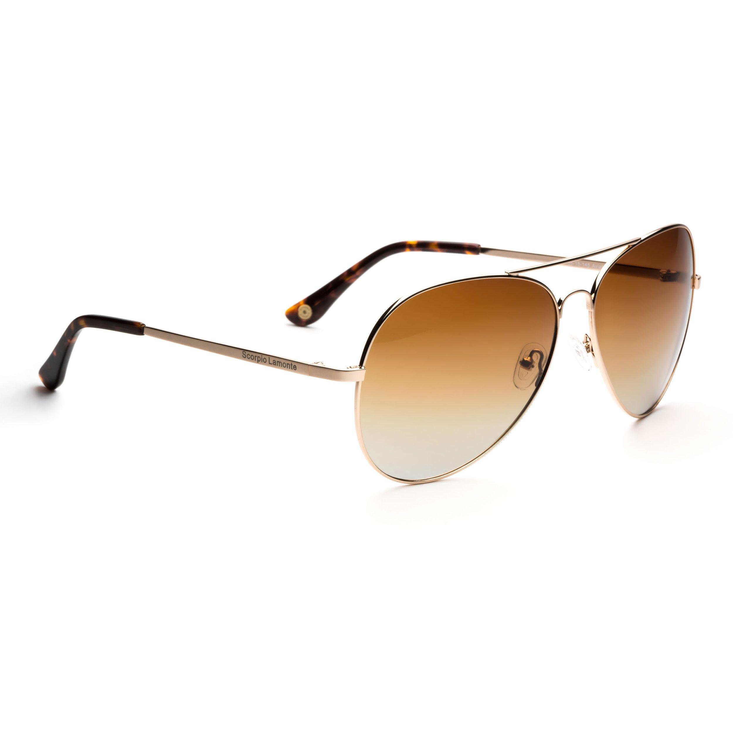 Aviator Golden Brown Sunglasses Scorpio Lamonte Eyewear
