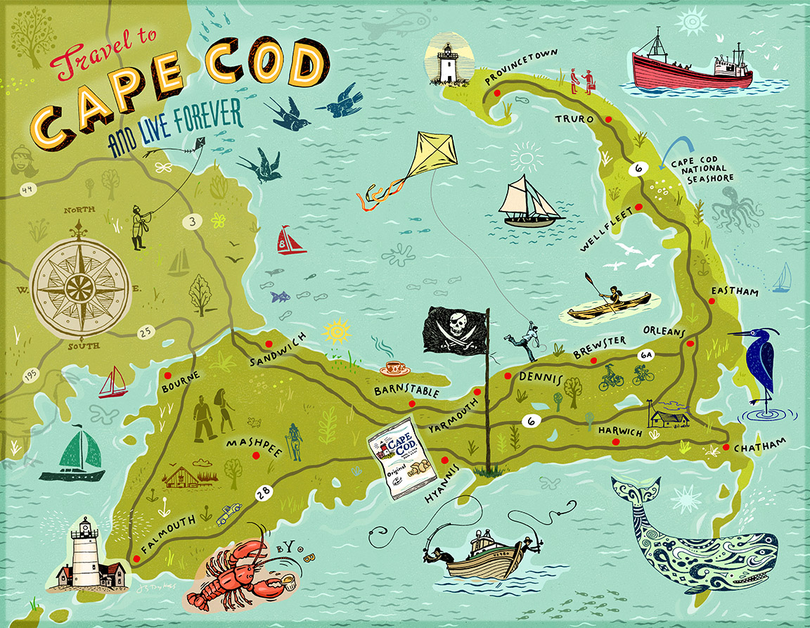 graphic regarding Printable Map of Cape Cod named Cape Cod Map John S. Dykes Instance