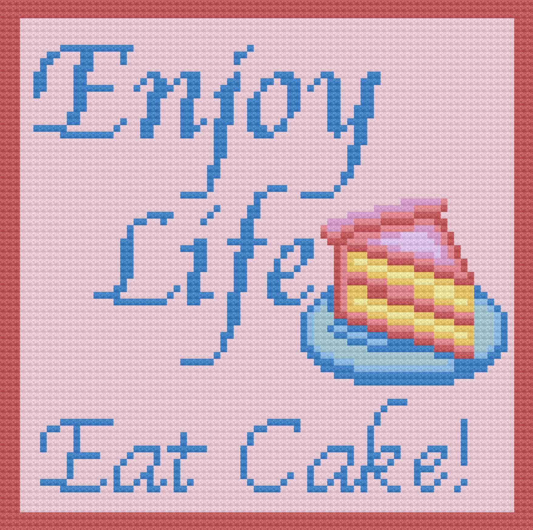 Enjoy Life, Eat Cake Afghan, C2C Crochet Pattern