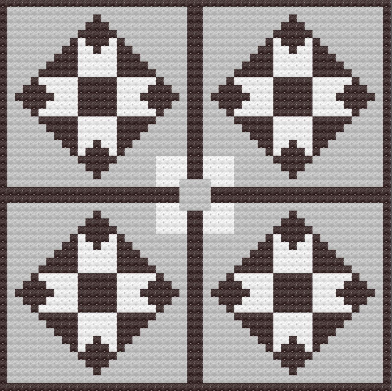 Renae Small Quilt Afghan, C2C Crochet Pattern