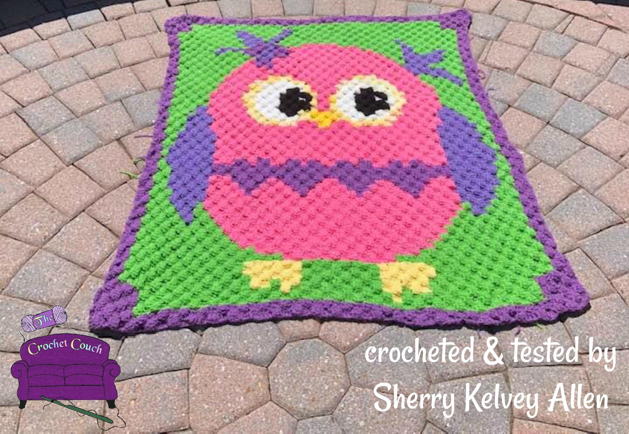 Owl Kids Afghan, C2C Crochet Pattern