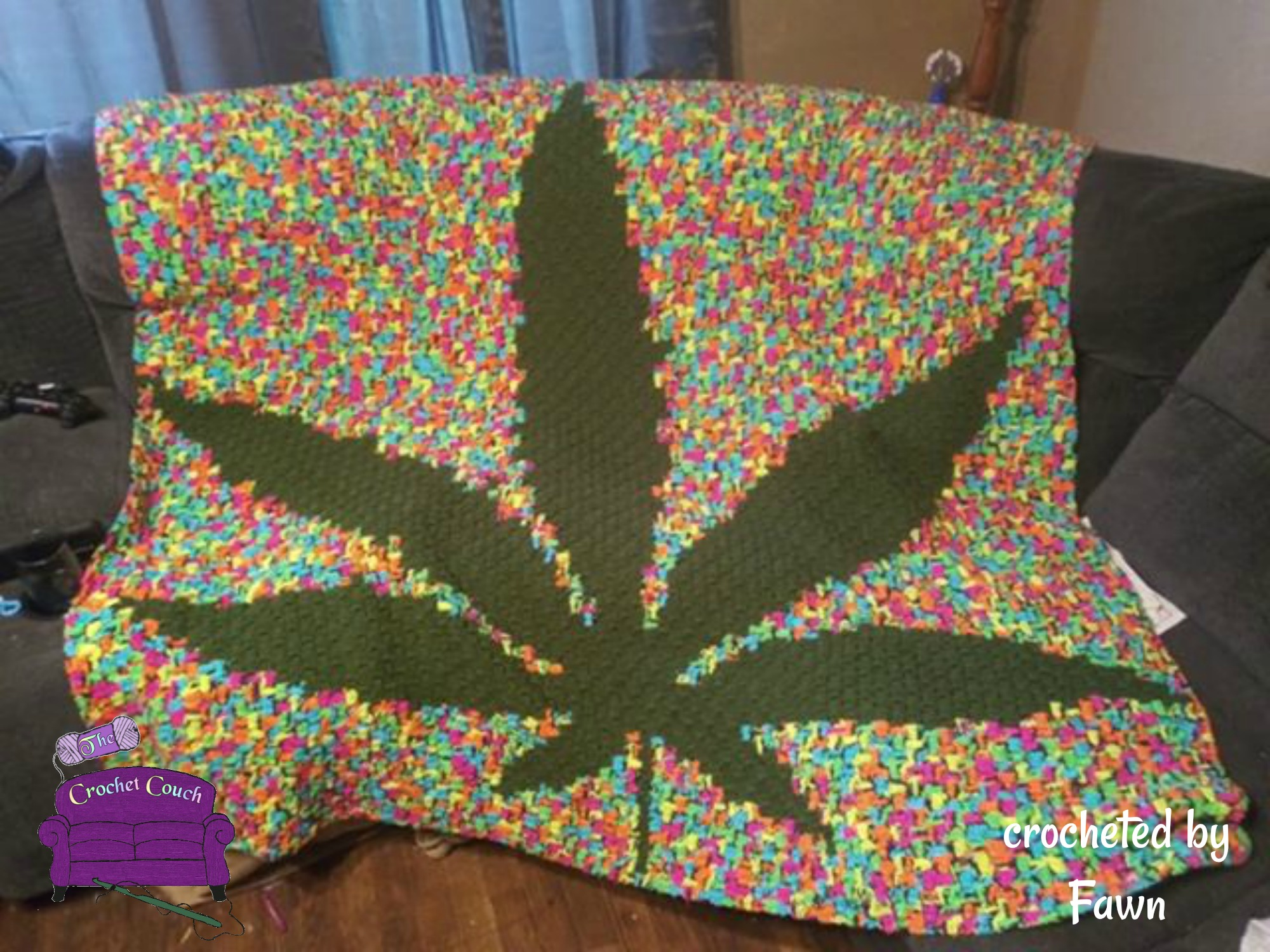 Marijuana Leaf Afghan, Black Background, C2C Crochet Pattern