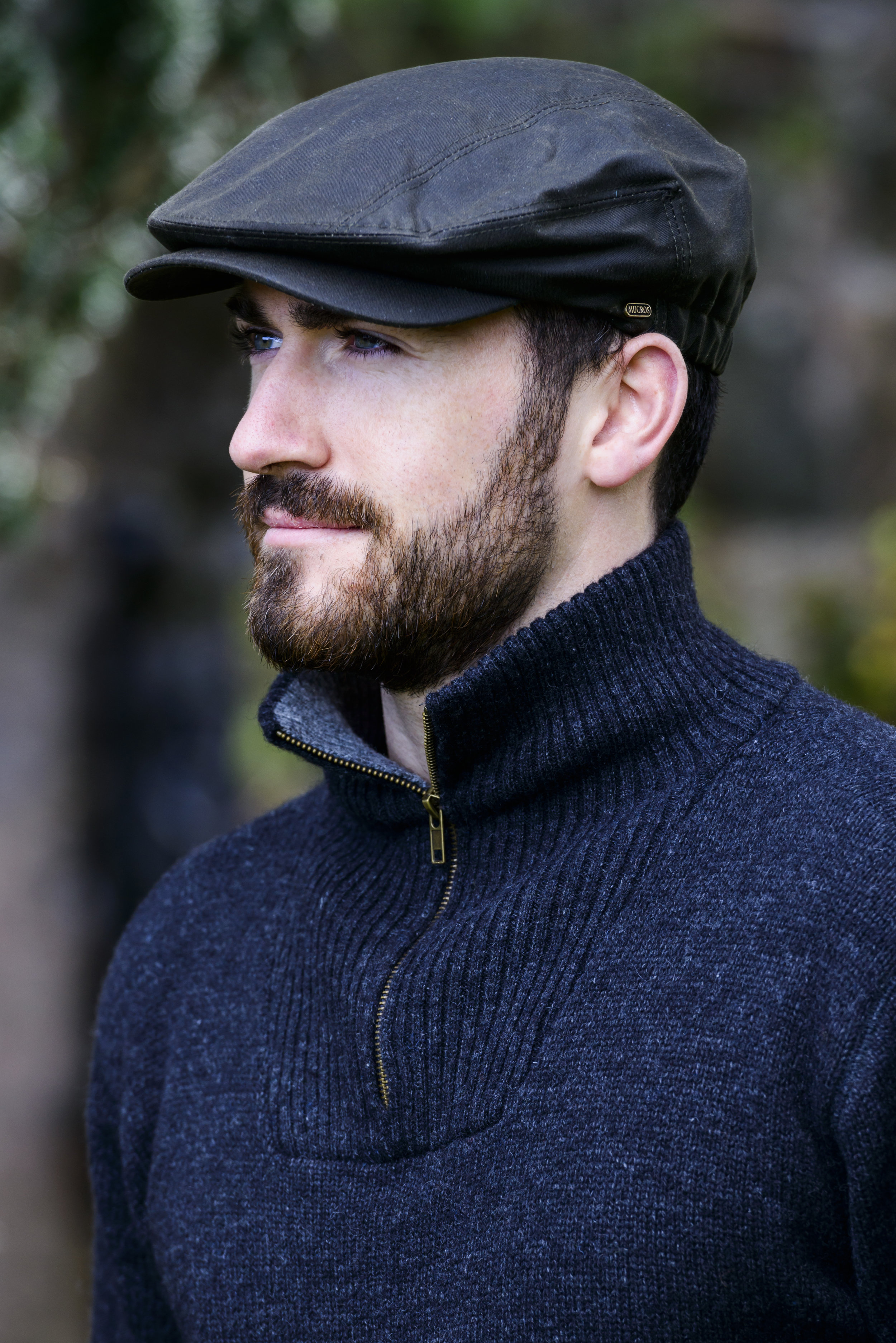 Mucros Black Wax Kerry Flat Cap Hat Made in Ireland