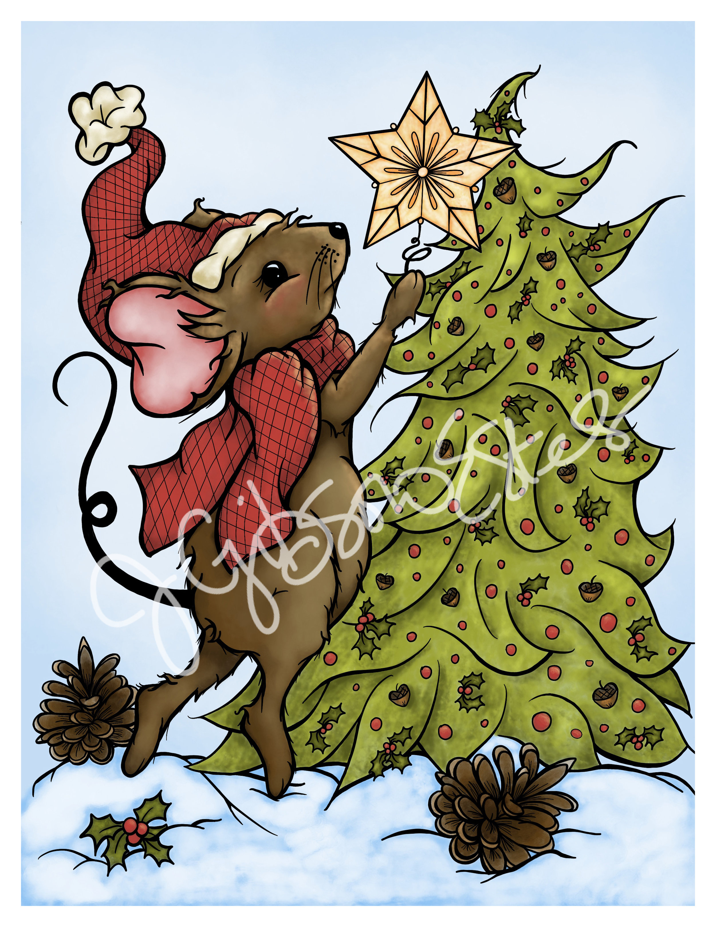 Christmas Mouse.Christmas Mouse Trim The Tree Printable Christmas Coloring Page And Digital Stamp J Gibson Estes