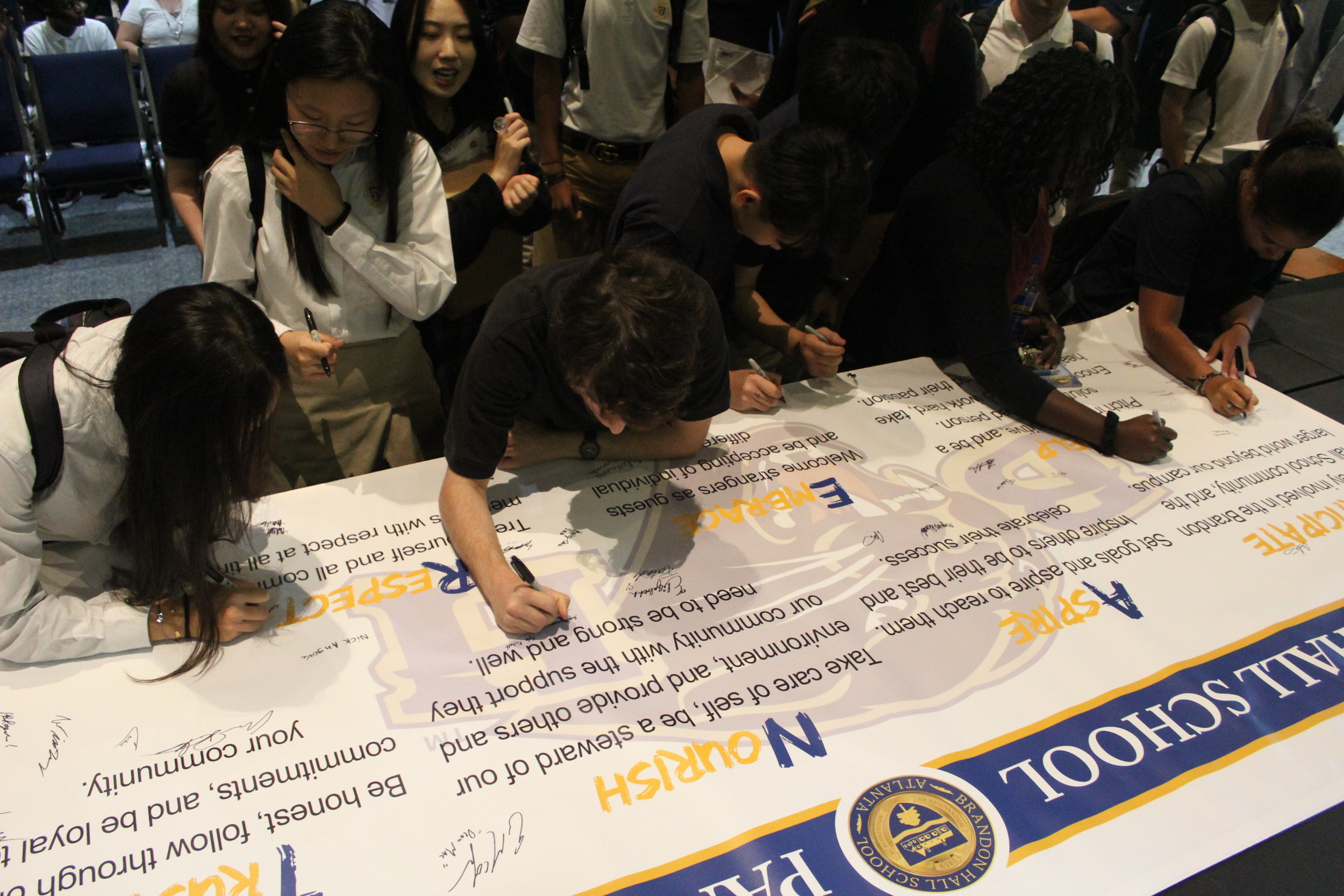 Signing of the Panther Pillars - At the beginning of the 2018-2019 school year, all students and staff signed the Panther Pillars, stating their commitment to living the Pillars on a daily basis.