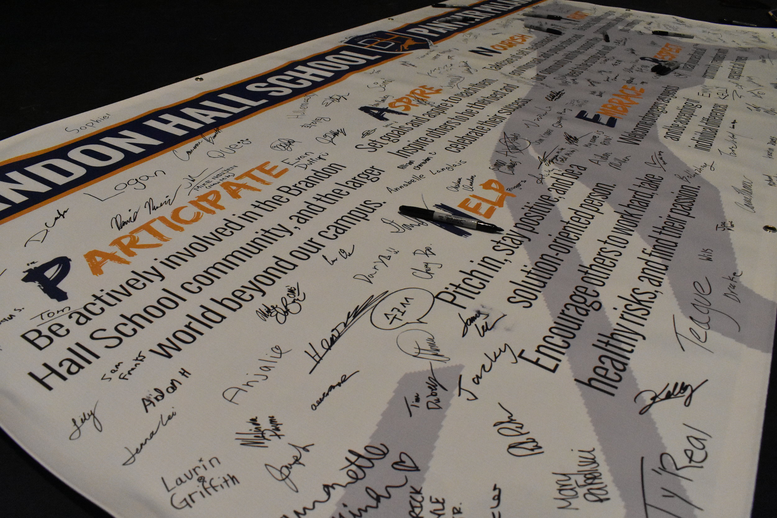 Signing of the Pillars - During the first assembly of the school year, the Brandon Hall community signs the Panther Pillars banner, signifying their dedication to uphold the Pillars in all that they do.