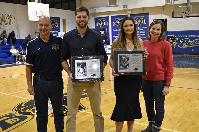 Friday night was a great night to be a Panther!  Brandon Hall recognized Connor McDonald '15 and Olivia Bryan '17 into the Brandon Hall Hall of Fame. They will be the 7th and 8th athletes with that recognition.  On the tennis court, Olivia Bryan won 4 Region Tennis Championship, 1 State Championship, and finished as State Runner Up 2 times. Olivia finished her career with the school record for singles wins (boys or girls). She was also a key piece to the Girls Tennis GISA State Championship in 2015.  Connor McDonald set the record for most doubles wins as a Panther. He was the GISA State Runner Up twice in doubles and helped the Panthers to their GISA State Championship in 2012. He also earned All State recognition on the soccer field.  More importantly, both athletes represented Brandon Hall the right way and took pride in wearing the BH uniform.  #tennis #soccer #halloffame #pantherpride #brandonhallschool