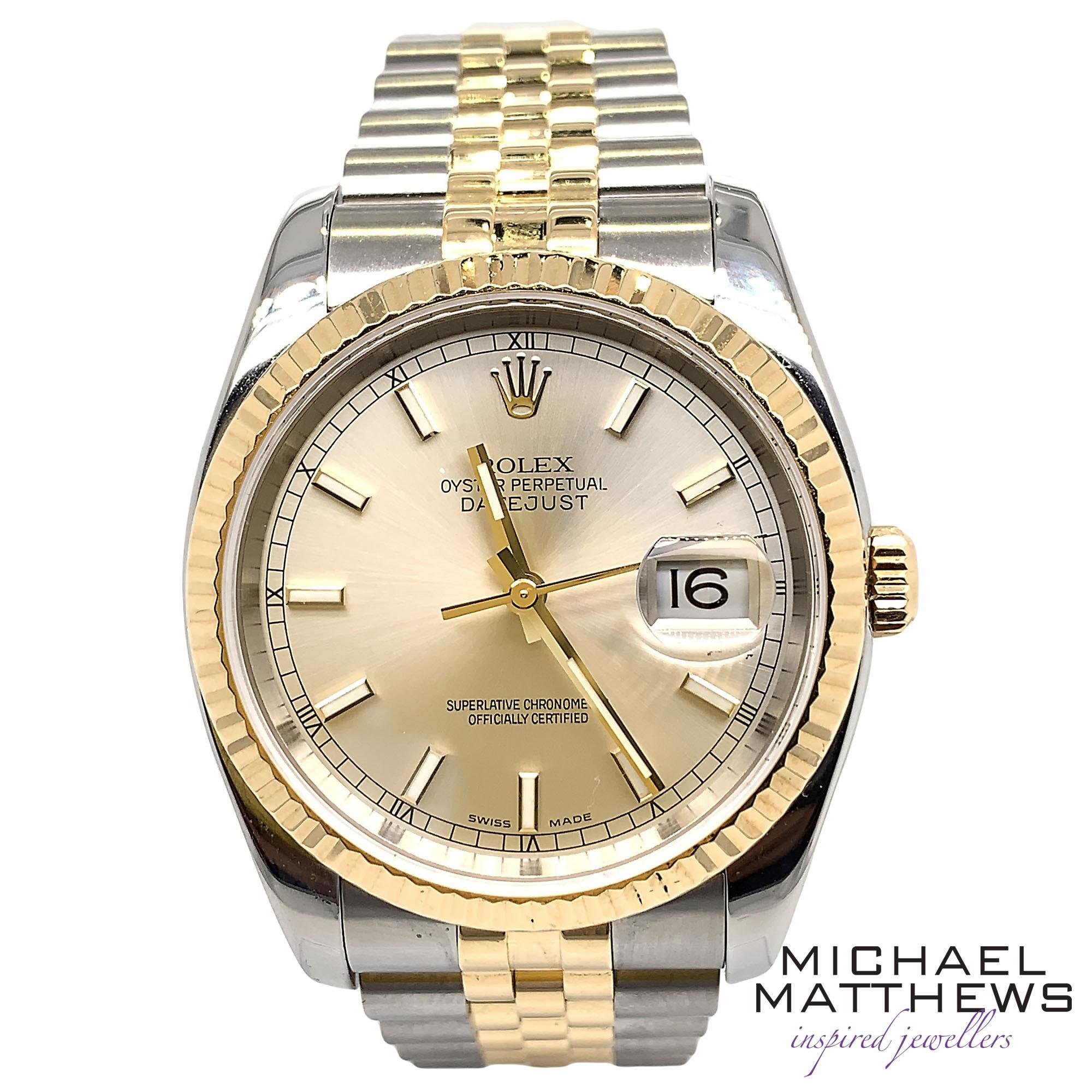 dd009c94dd3 Rolex DateJust 36mm Watch — Michael Matthews Jewellery - Bournemouth & Fareham  Jewellers