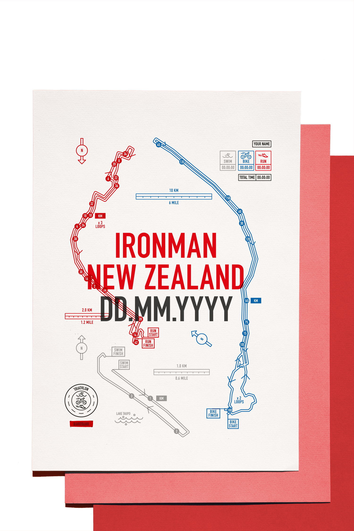 New Zealand Map Print.Ironman New Zealand Personalised Triathlon Map Print Racetrace