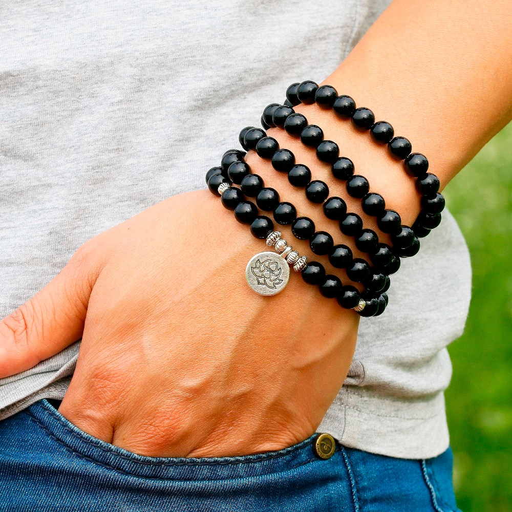 Midnight Black Onyx Wrist Mala Bracelet Peaceful Island