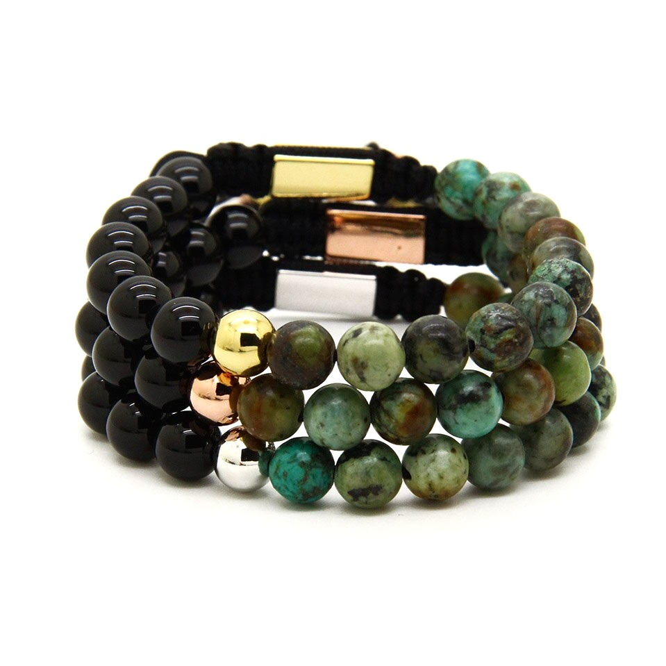 Prime Black Onyx African And Turquoise Earth Stone Bracelet For Men Peaceful Island