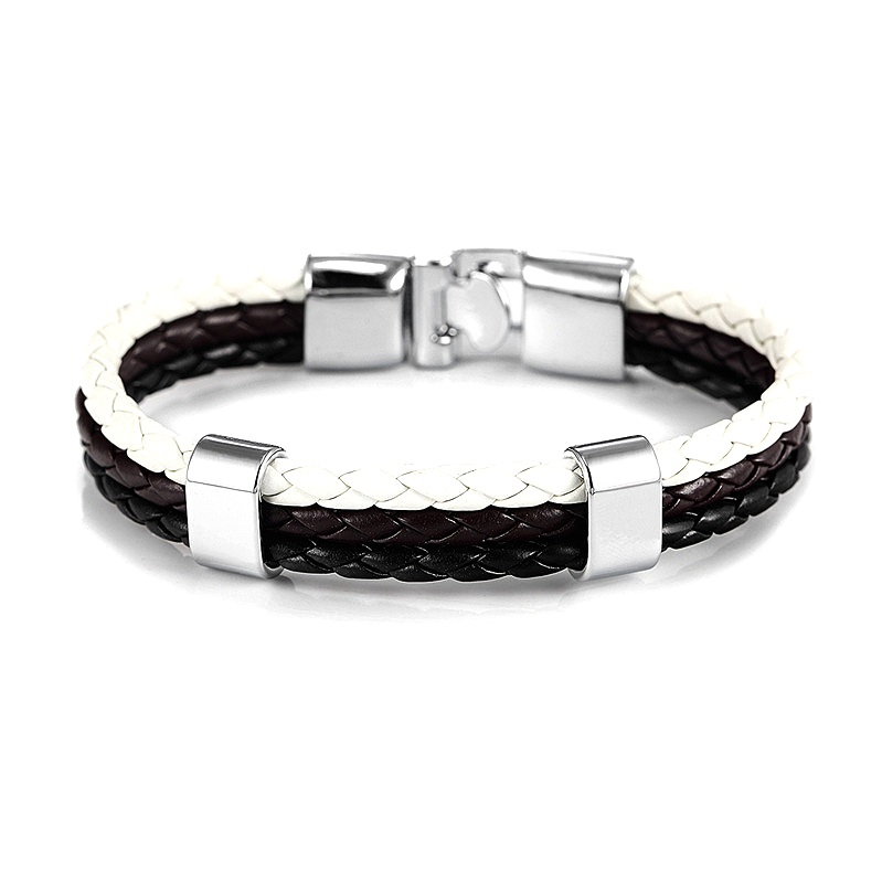 Mens black and white necklace,leather,surfer,hand made,stainless steel,5 colours
