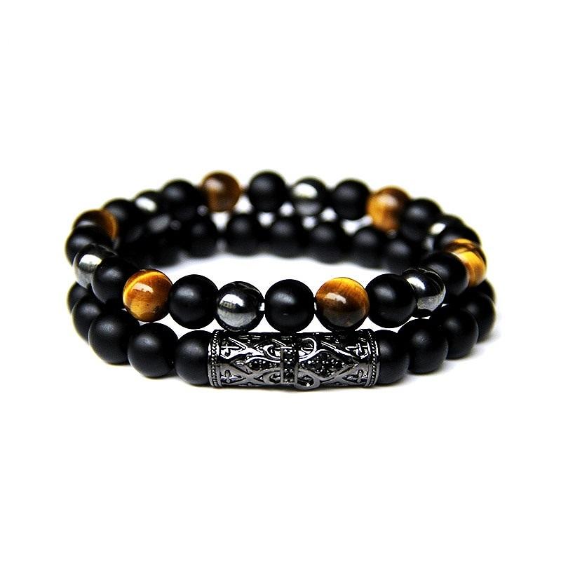 Bracelet Man Mens Beaded Bracelet Matte Black Stone Bracelet Black Onyx Bead Bracelet
