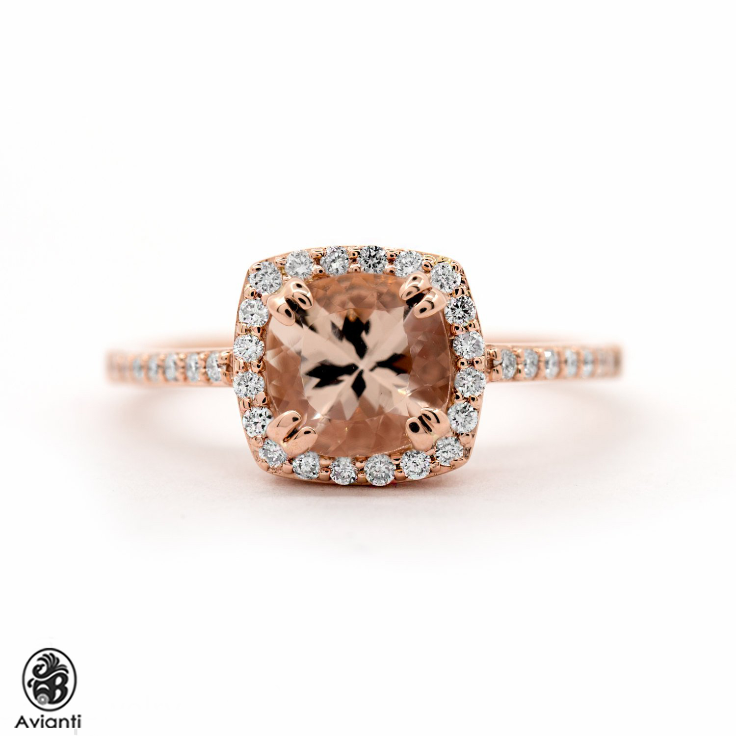Cushion Cut Morganite And Round Diamonds Engagement Ring