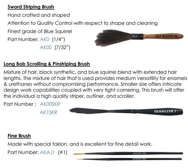 Aset Kustom Pinstriping Brushes Tropical Glitz