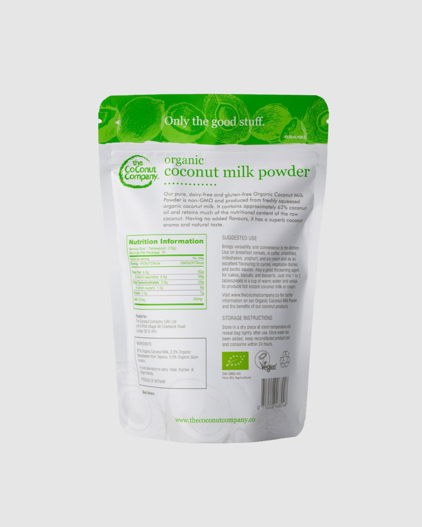 Organic Vegan Coconut Milk Powder (Dairy-free and Gluten-free) - 250g — The  Coconut Company